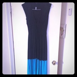Black and turquoise maxi dress